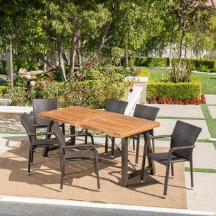 Lilley Outdoor Wood Wicker 7 Piece Dining Set