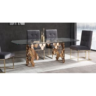 Dwaine Glass Dining Table Everly Quinn
