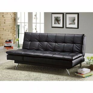 Orren Ellis Monti Hasty Leatherette Convertible Sofa