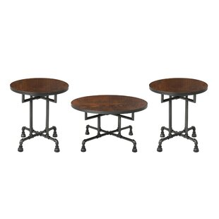 Kroeger Industrial Faux Wood 3 Piece Coffee Table Set Williston Forge