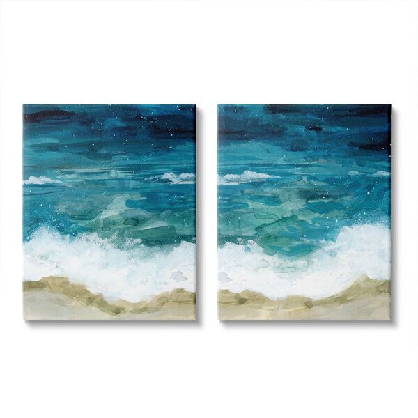 Stupell Industries Tide Crash To Shore Nautical Beach Watercolor 2 Piece Floater Frame Graphic Art Print Set On Canvas Wayfair
