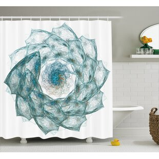 Bargain Teal Exquisite Flower Shaped Shower Curtain By East Urban Home