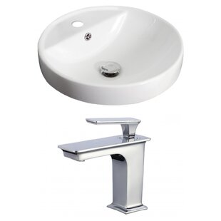 Royal Purple Bath Kitchen Ceramic Circular Drop-In Bathroom Sink with Fauc..