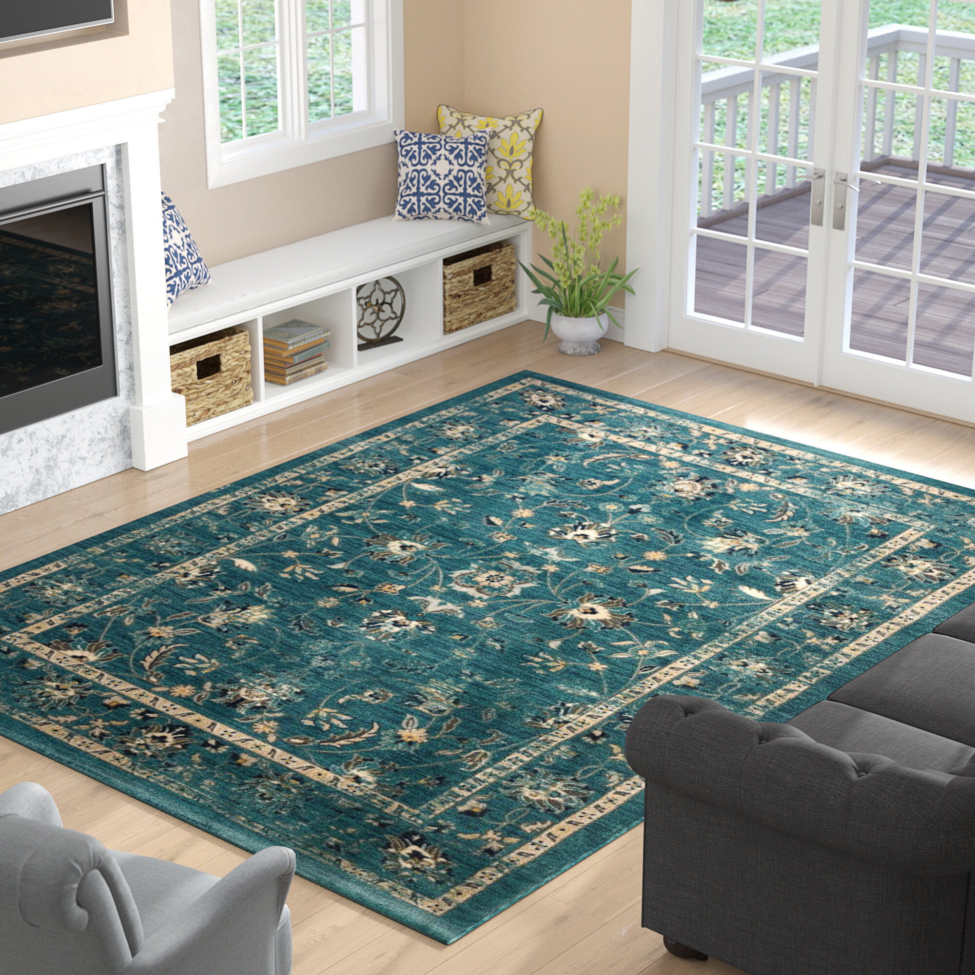 Three Posts Morehouse Turquoise/Beige Area Rug & Reviews | Wayfair