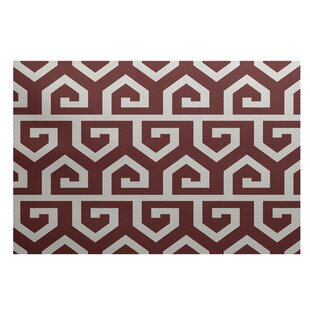Dries Geometric Print Rust Indoor/Outdoor Area Rug