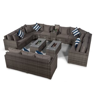 Villasenor Grey Rattan 8 Seat Sofa With 2 X Rectangle Ice Bucket Coffee Table & 3 Seat Sofa + Drinks Cooler, Outdoor Patio Garden Furniture By Sol 72 Outdoor
