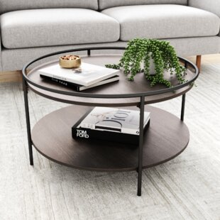 Modern 2 Tier Round Coffee Table with Solid Wood Leg Living Room Furniture White