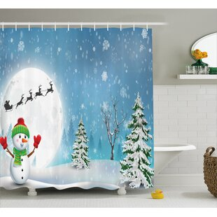 Christmas Jolly Snowman Santa Shower Curtain + Hooks