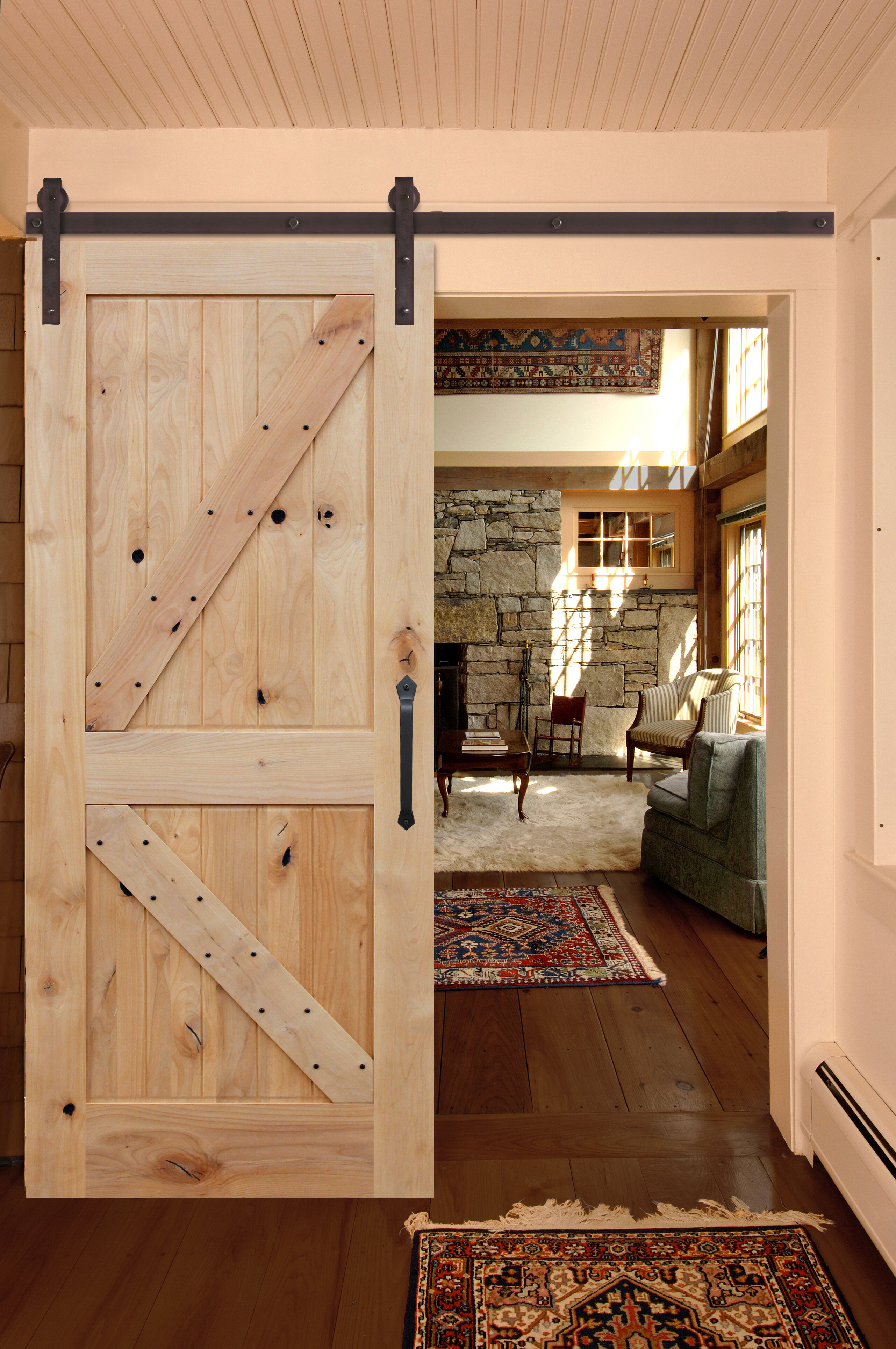 Image of: Creativeentryways Paneled Wood Unfinished Rustic Knotty Alder Barn Door With Installation Hardware Kit Wayfair