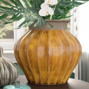 Yellow/Gray Ceramic Table Vase byMistana