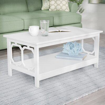 Beachcrest Home Rebecca Coffee Table  Table Top Color: White, Table Base Color: White