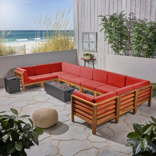 Eugene Outdoor U-Shaped 12 Piece Sectional Seating Group with Cushions