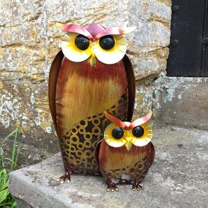 Animal Owl and Baby Rustic Statue