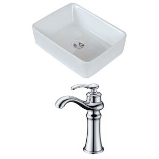Above Counter Ceramic Rectangular Vessel Bathroom Sink with Faucet by Royal Purple Bath Kitchen