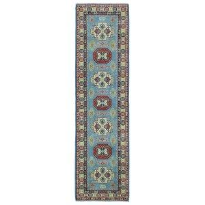 Evan Kazak Oriental Hand-Woven Wool Blue Area Rug