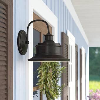 Ebern Designs Guang Black 1 Bulb Outdoor Armed Sconce Wayfair