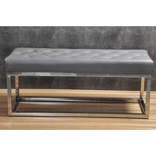 Adelinda Metal and Leather Bench by Trent Austin Design