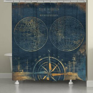 Darby Home Co Consolata Golden Compass World Map Shower Curtain