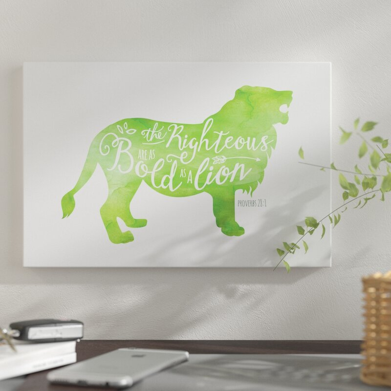 east urban home 'proverbs 28:1 (green lion)' graphic art print on