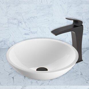 VIGO Phoenix Glass Circular Vessel Bathroom Sink with Faucet