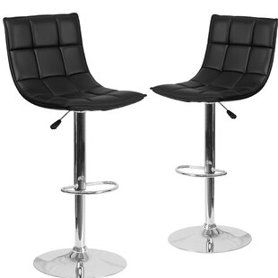 Nicarete Adjustable Height Swivel Bar Stool (Set of 2) by Orren Ellis