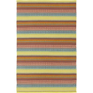 Bybrook Striped Handwoven Flatweave Mustard Indoor/Outdoor Area Rug