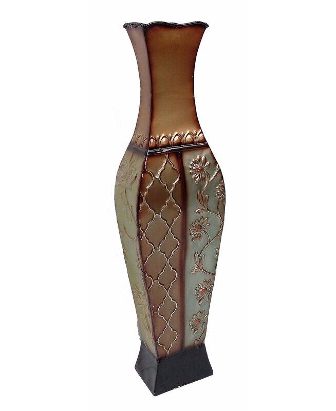 World Menagerie Handmade Metal Floor Vase Reviews Wayfair