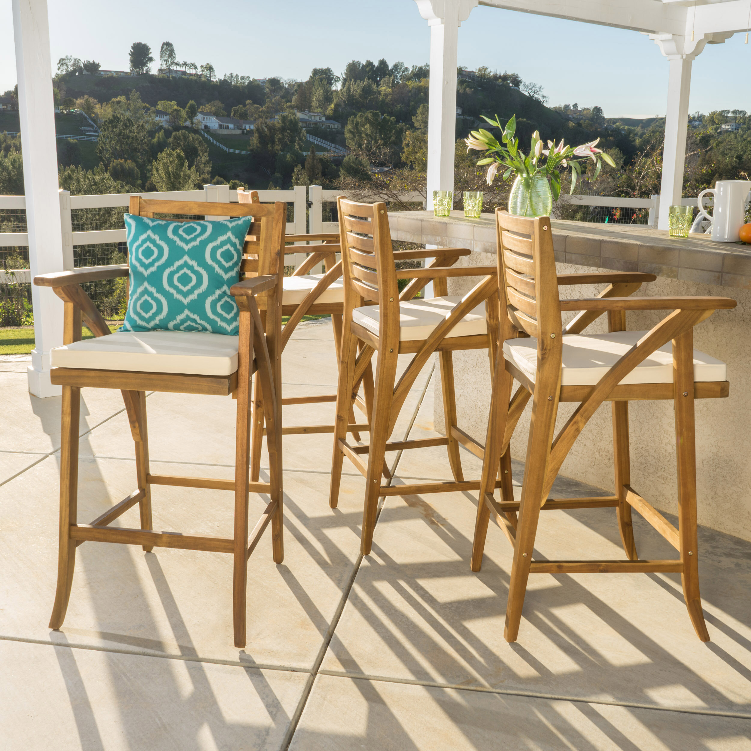 """Docklands 29"""" Patio Bar Stool with Cushion & Reviews"""