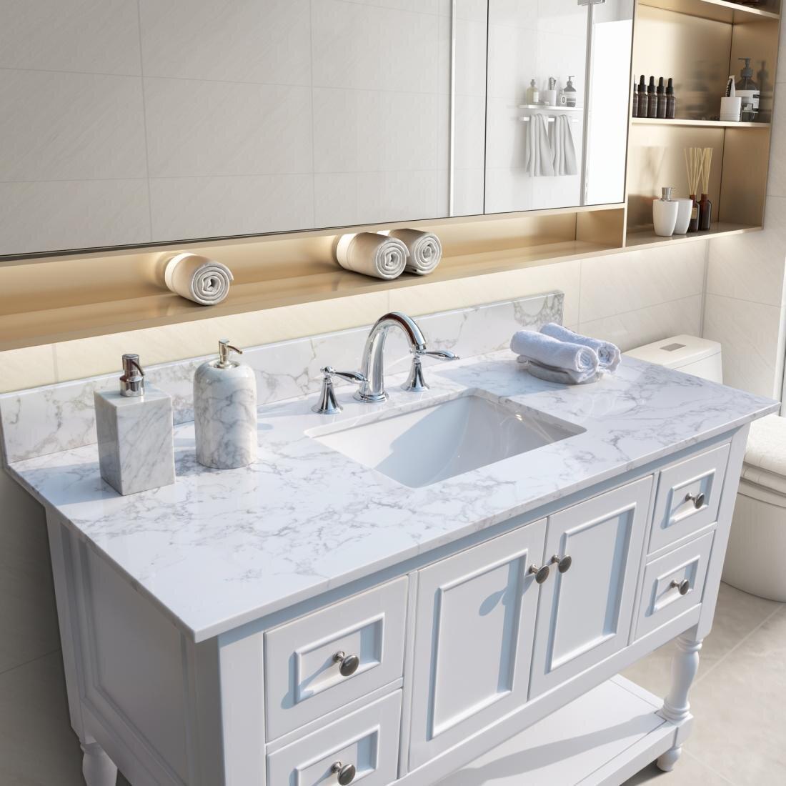 Funadd 43 Single Bathroom Vanity Top In Carrara White With Sink Wayfair