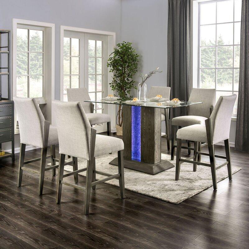 White Cane Outdoor Furniture, Wrought Studio Pignataro 7 Piece Counter Height Dining Set Wayfair