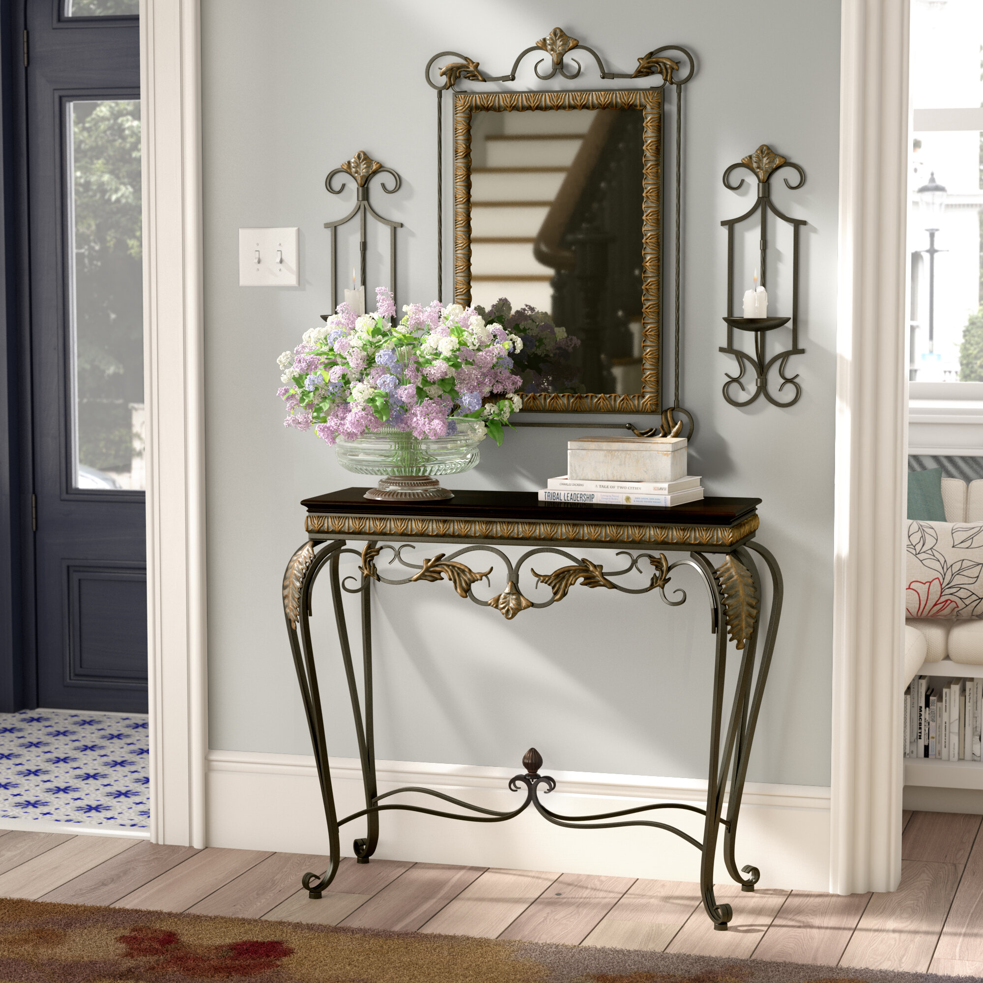Alcott Hill Byrd 4 Piece Console Table And Mirror Set Reviews Wayfair