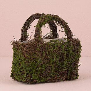 Faux Moss And Wicker Basket (Set Of 2)