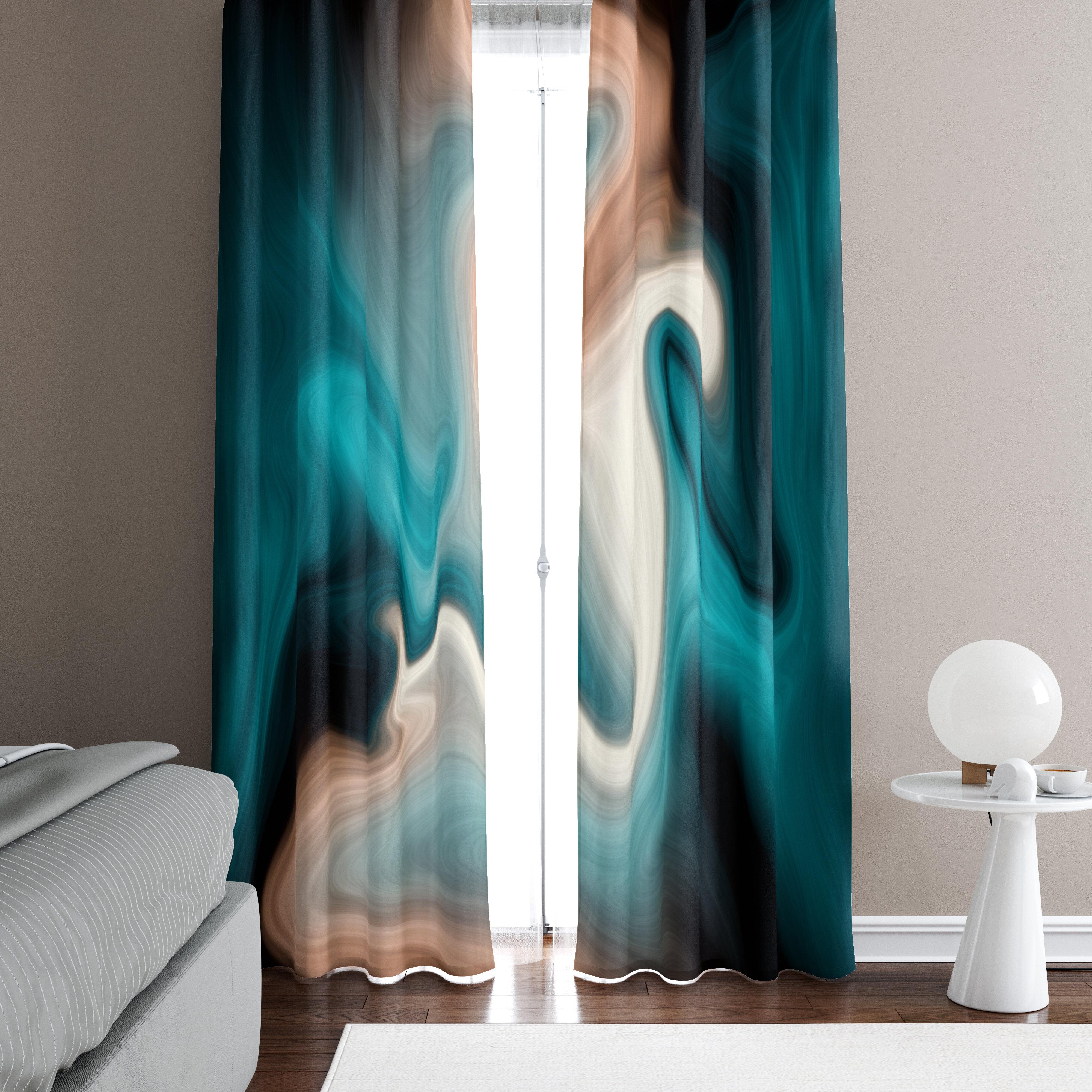 Deja Blue Studios Abstract Semi Sheer Curtain Panels Wayfair