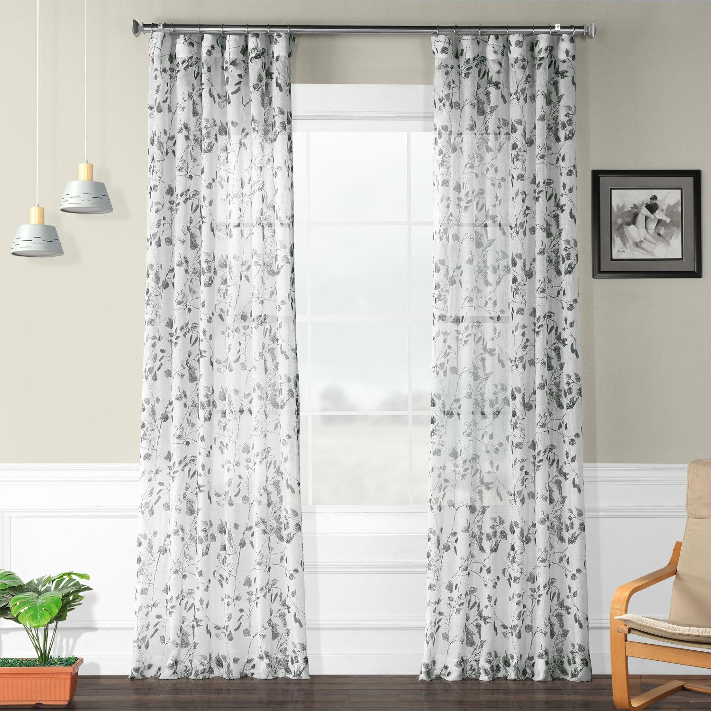 Charlton Home Haynie Printed Polyester Floral Sheer Rod Pocket Single Curtain Panel Wayfair