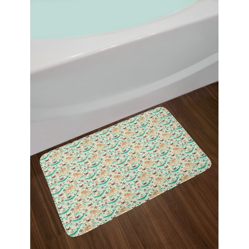 Pattern With Octopus Bath Rug