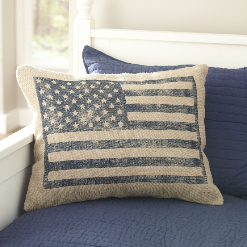 Flag Burlap Pillow Cover