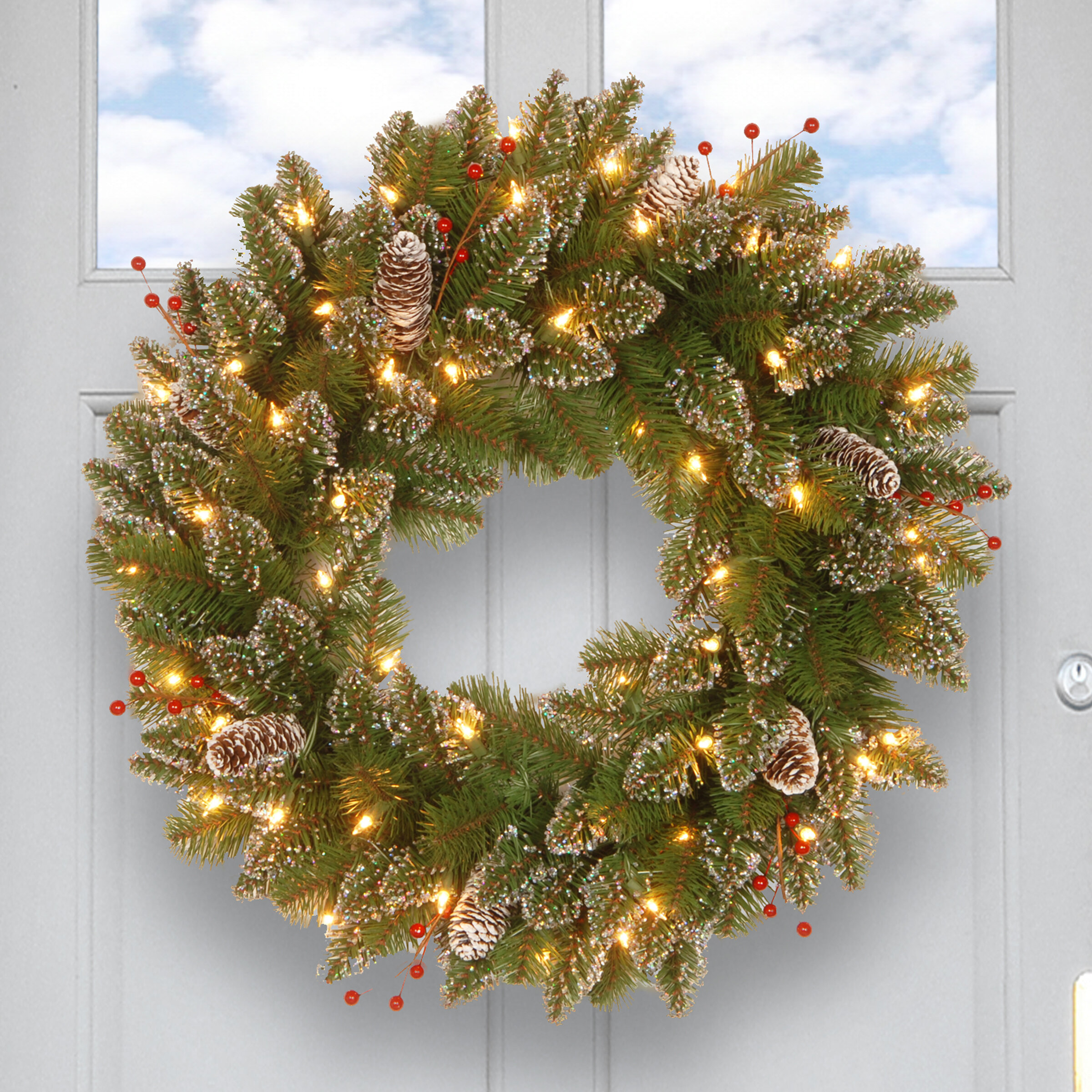 three posts pre lit spruce wreath with 50 battery operated white led lights reviews wayfair