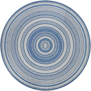 Anguila Stripe Blue/Gray Indoor/Outdoor Area Rug by Beachcrest Home