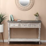 Wood And Metal Farmhouse Distressed Console Table by One Allium Way
