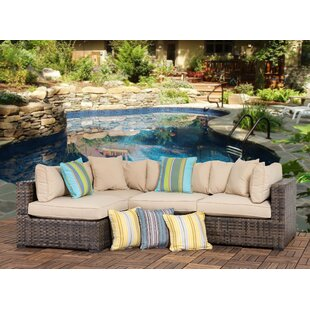 Harrell Outdoor 4 Piece Wicker Sectional Seating Group with Cushions