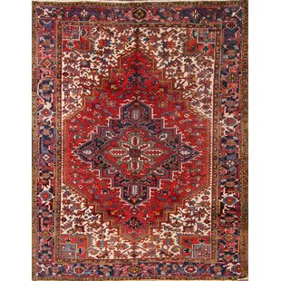 One-of-a-Kind Heriz Traditional Persian Hand-Knotted 7'4 x 9'9 Wool Red/Blue Area Rug ByIsabelline