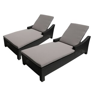 Ivy Bronx Coleg Outdoor Reclining Chaise Lounge with Cushion (Set of 2)
