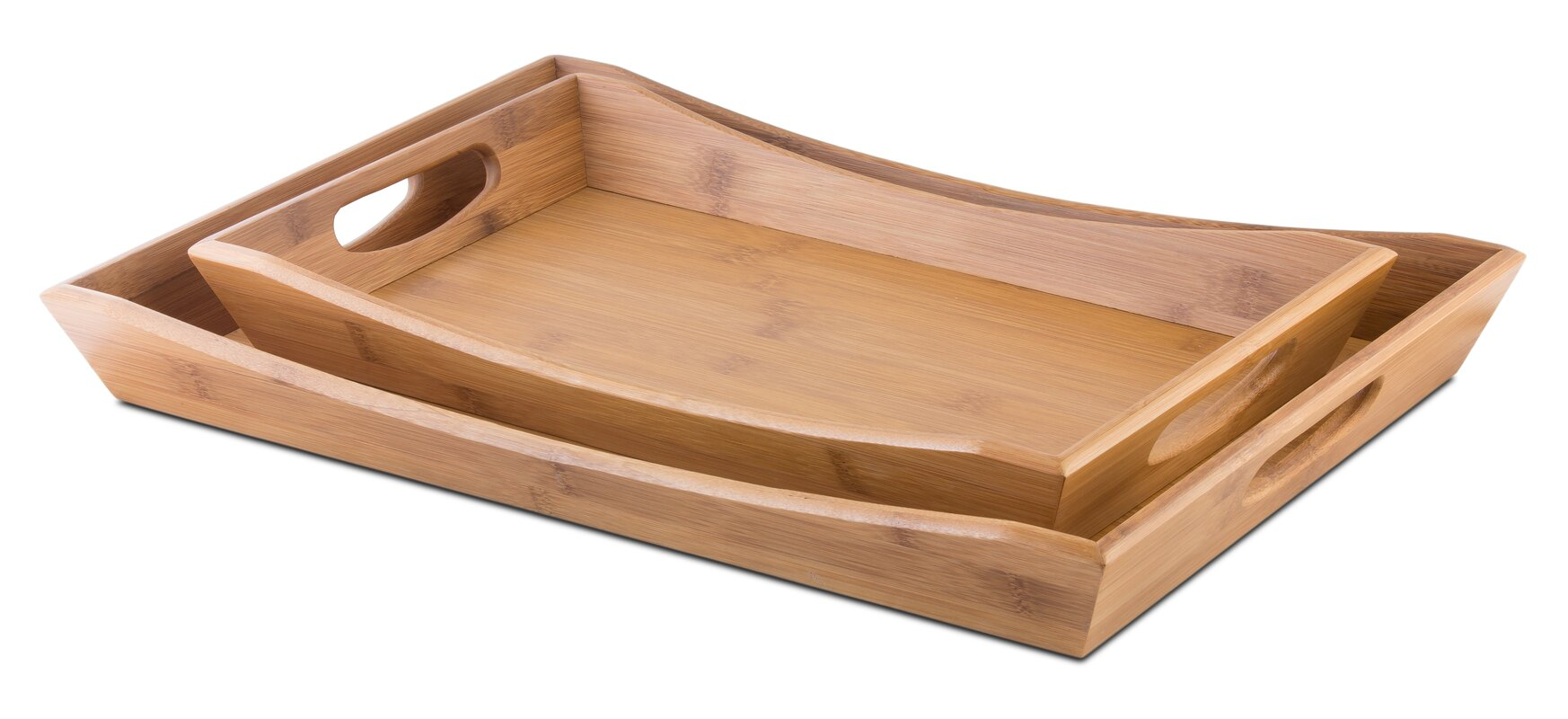 2 Piece Bamboo Serving Tray Set