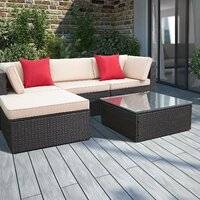 Deals on Brayden Studio Huang 5 Piece Rattan Sectional Seating Group