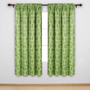 Green Botanical Mid Century Curtains,Retro Window Curtain Panels,Mid Century Botanical Valances,Curtains