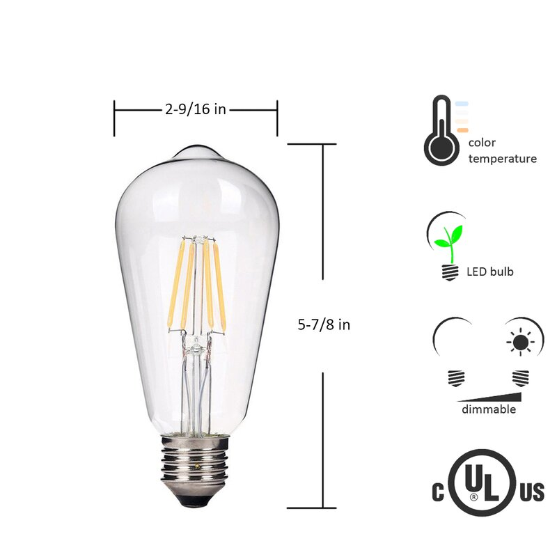 4 Watt 40 Equivalent St64 Led Dimmable Light Bulb Warm