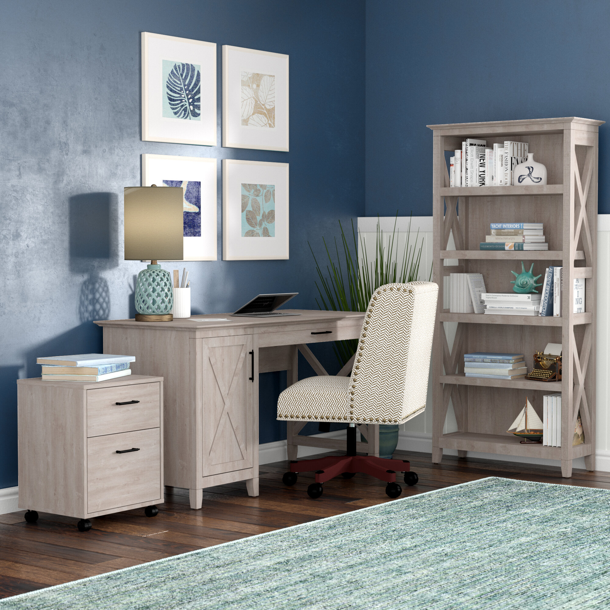 Oridatown Desk Bookcase And Filing Cabinet Set
