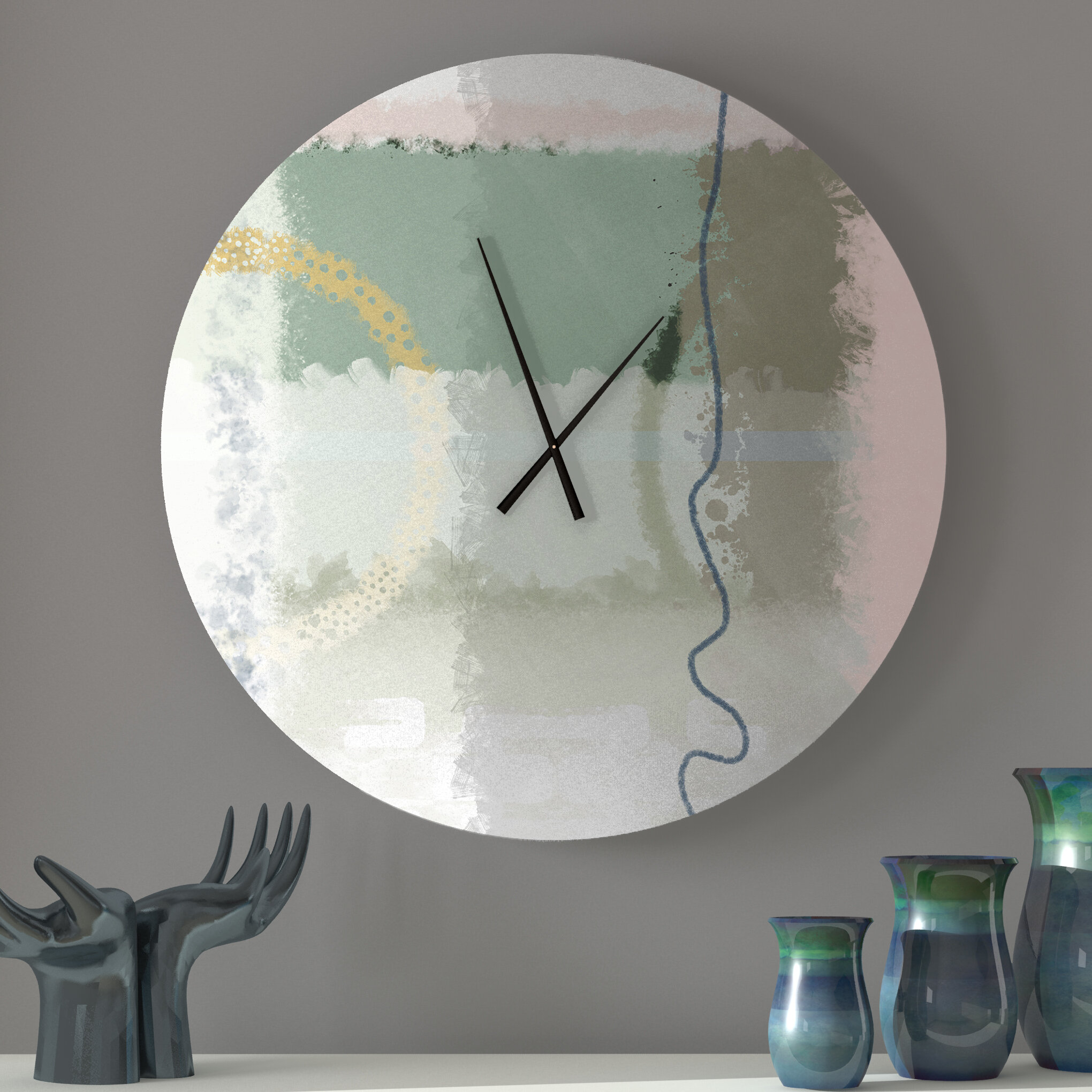 Ebern Designs Kindred Spiritual Abstract Metal Wall Clock Wayfair