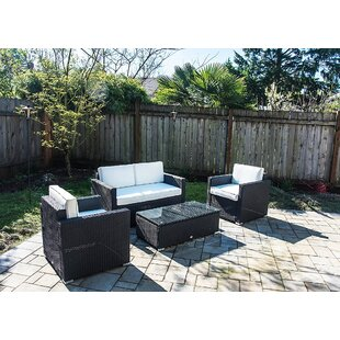 Outsunny 4 Piece Rattan Sofa Seating Group with Cushions
