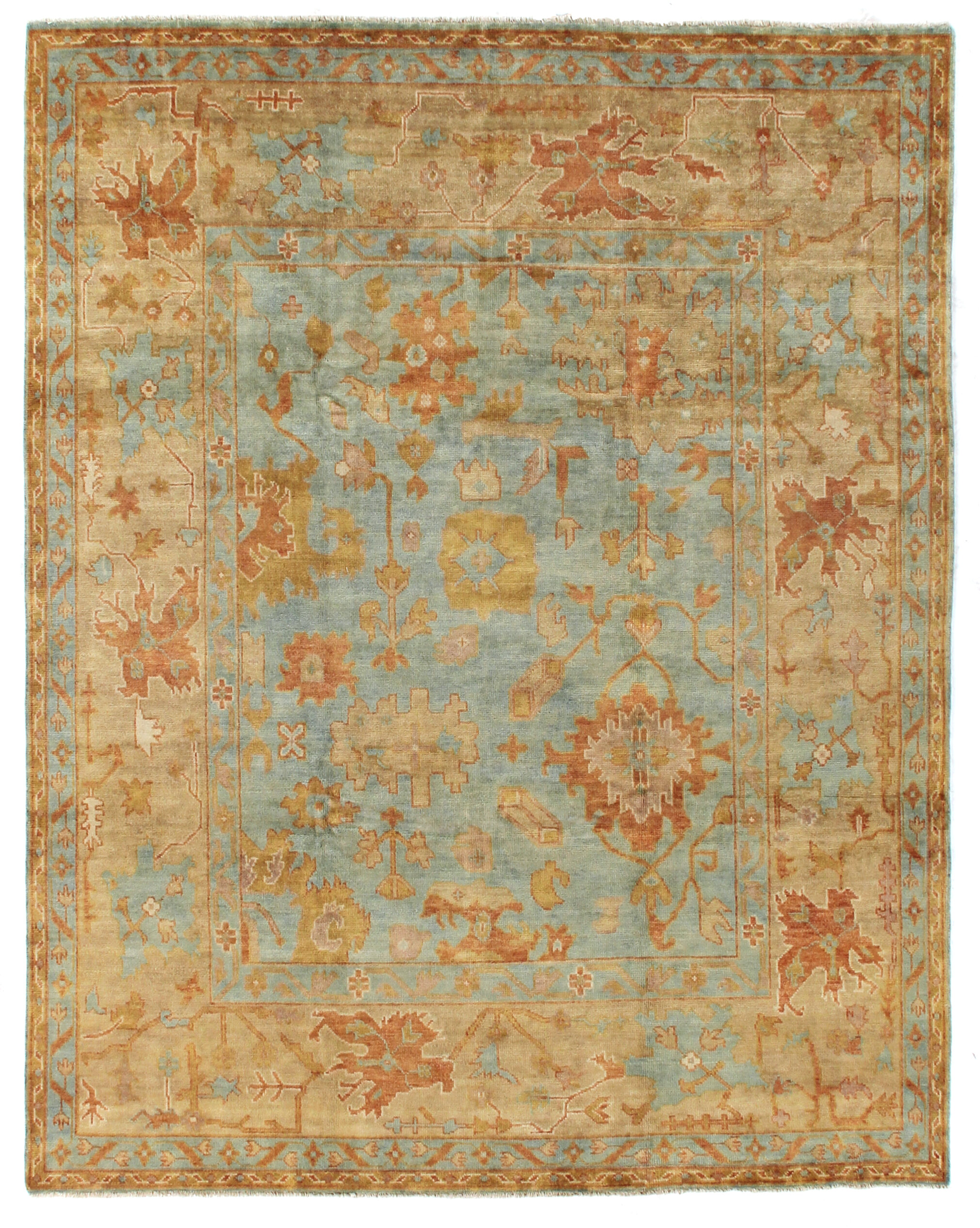 Salon Taupe Et Turquoise oushak oriental hand-knotted wool brown/blue area rug